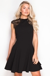 Lace Shoulder Black Skater Dress