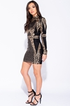 Sequin Front High Neck Bodycon Mini Dress
