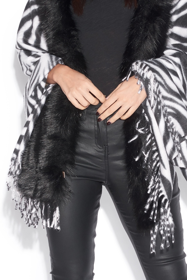 Zebra Print Poncho with Faux Fur Collar