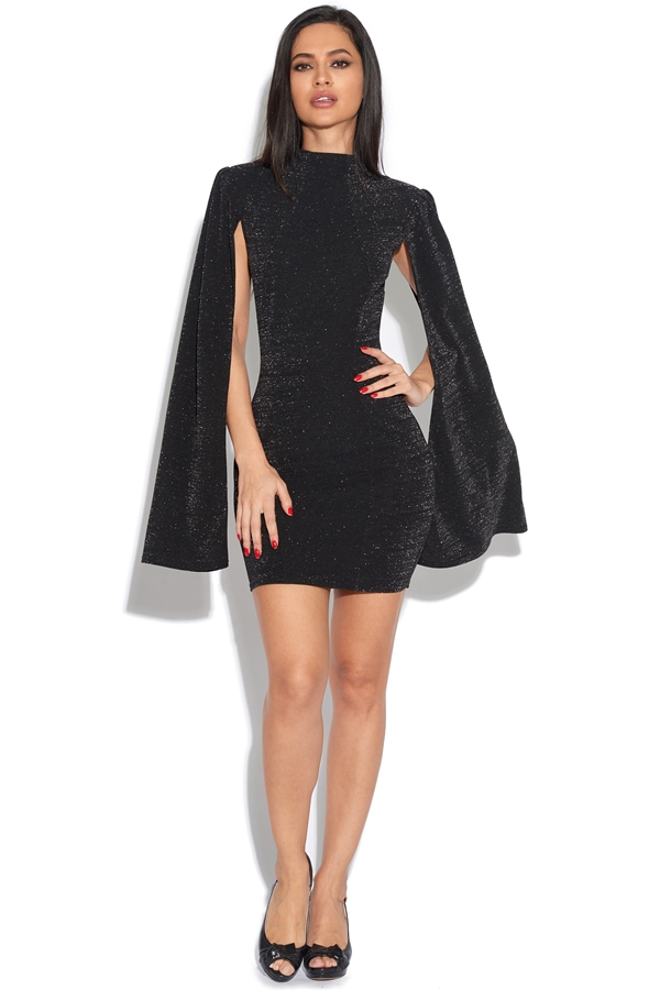Cape Sleeve Glitter Dress