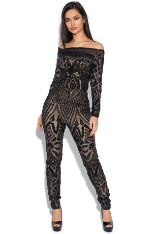 e887eb923c5 Luxe Off The Shoulder Embellished Jumpsuit