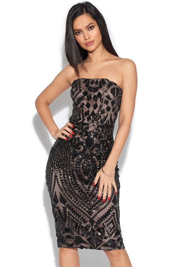 Luxe Strapless Embellished Midi Dress