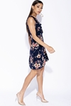 Navy Floral Frill Trim Wrapover Mini Dress