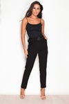 Black Buckle Belted Trousers