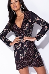 Contrast Floral Print Wrap Dress