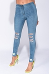 Medium Blue Distressed Jeggings