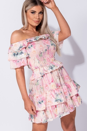 f75964865e8 Floral Print Frilled Bardot Dress