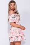 Floral Print Frilled Bardot Dress