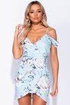 Floral Print Pale Blue Cold Shoulder Dress