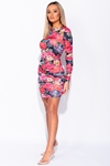 Figure Hugging Rose Print Ruched Bodycon Party Dress