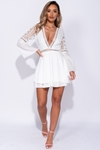 Lace Trim Plunge Mini Dress
