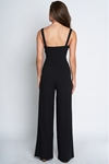 Split Leg Button Front Black Jumpsuit