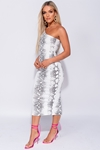 One Shoulder Snake Print Bodycon Dress