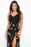 2 in 1 Floral Cami Split Maxi Dress