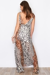 Patchwork Animal Print Maxi Dress
