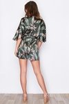 Fiji Tie Waist Palm Print Playsuit