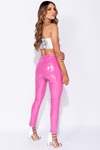 Wetlook Vinyl Neon Pink PU Skinny Trousers