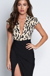 2 in 1 Cap Sleeve Leopard Print Plunge Dress