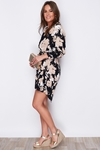 Tie Waist Floral Leaf Print Shirt Dress