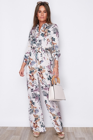 a497f75b10f2b Fit and Flare Floral Print Jumpsuit