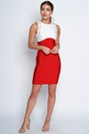 Luxe Red and White Embellished Bandage Dress