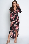 Long Sleeved Floral Print Maxi Dress