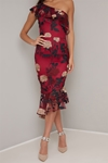 Burgundy Floral Embroidered One Shoulder Dress