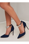 Embellished Navy Court Shoes