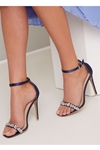 Navy Satin Strappy Embellished Sandals