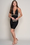 Luxe Black and Gold Embellished Bandage Dress