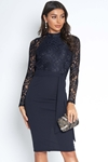 Long Sleeved Lace Top Midi Dress