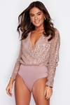 Mocha Long Sleeve Wrap Sequin Bodysuit