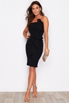 Bandeau Pleated Little Black Dress