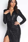 Luxe Sequin Embellished Plunge Dress