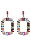 Large Multicolored Crystal Oval Hoop Earrings
