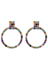 Multi Coloured Gem Hoop Earrings