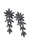 Black Bead Flower Design Drop Earrings