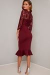 Burgundy Lace Detail Frill Hem Dress