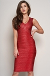 Luxe Metallic Wrap Effect Bandage Dress