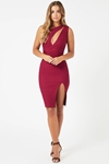 One Shoulder Berry Dress with Cut Out Detail