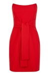 Red Strapless Tie Waist Mini Dress