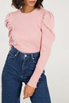 Rib Puff Sleeve Jumper with Button Detail