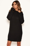 Stretch Knit Roll Neck Jumper Dress