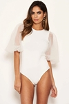Sheer Balloon Sleeve Bodysuit