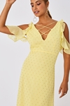 Lemon Cold Shoulder Strappy Detail Dress