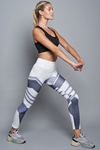 White and Grey Colour Block Leggings